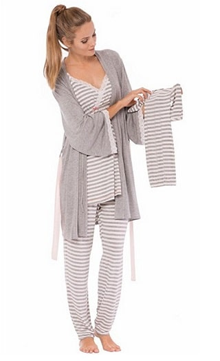 Olian Stripe PJ Set and Baby Gown