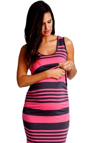Ripe Maternity Striped Nursing Dress