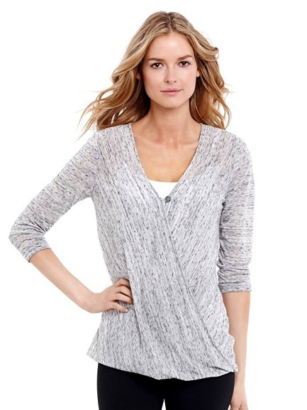 Jessica Simpson 3/4 Sleeve Pull Over Wrap Nursing Top