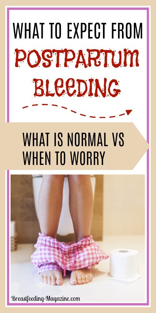 What to expect after birth - what is normal and what is not for postpartum bleeding.